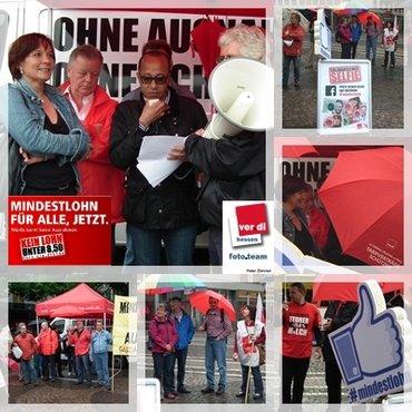 Mindestlohn-Tour von ver.di und NGG am 23.05.2014 in Darmstadt auf dem Luisenplatz