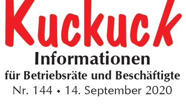 Kuckuck Informationen für Betriebsräte und Beschäftigte vom 14. September 2020